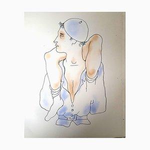 Lithographie Livre Blanc Coloriée à la Main par Jean Cocteau, 1930