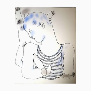 White Book Handcolored Lithograph by Jean Cocteau, 1930