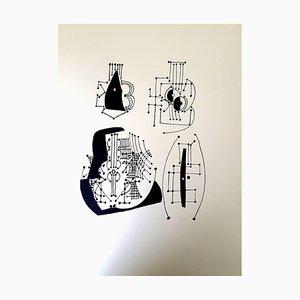Gravure sur Bois Hélène Chez Archimède par Pablo Picasso, 1955