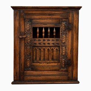 Antique Oak Hanging Corner Cupboard