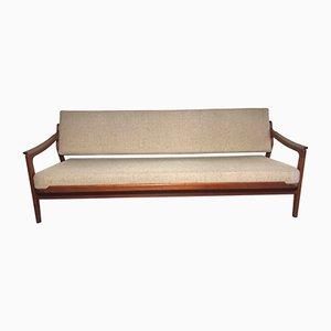 Sofá cama danés de teca de Arne Wahl Iversen para Komfort, años 50