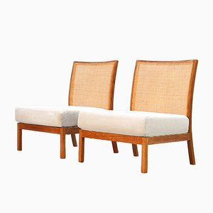 Dänische Vintage Sessel mit Flechtlehne, 2er Set