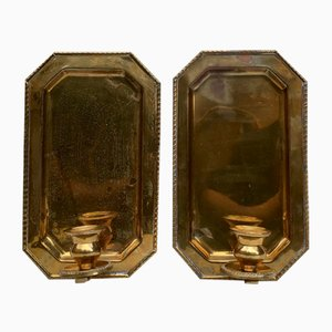 Mid-Century Swedish Brass Wall Candleholders, 1960s, Set of 2
