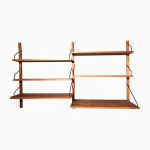 Danish Teak Wall Unit by Poul Cadovius for Cado, 1950s, Set of 9