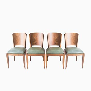 Vintage French Walnut Dining Chairs, Set of 4