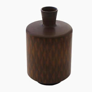 Mid-Century Swedish Brown & Beige Ceramic Vase by Berndt Friberg for Gustavsberg
