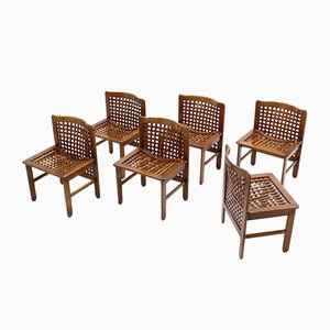 Italian Woven Wood Dining Chairs, 1970s, Set of 6