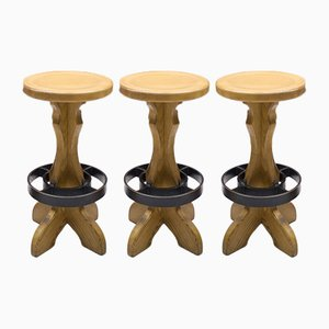 Iron and Wood Bar Stools, 1960s, Set of 3