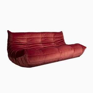 Vintage Model Togo Dark Pink Velvet Sofa by Michel Ducaroy for Ligne Roset