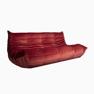 Vintage Modell Togo Sofa mit dunkelpinkem Samtbezug von Michel Ducaroy für Ligne Roset