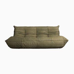 Vintage Model Togo Green Leather Sofa by Michel Ducaroy for Ligne Roset