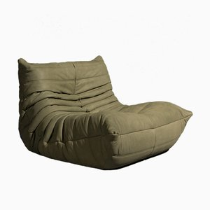 Vintage Model Togo Green Leather Sofa by Michel Ducaroy for Ligne Roset