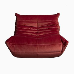 Vintage Model Togo Dark Pink Velvet Lounge Chair by Michel Ducaroy for Ligne Roset