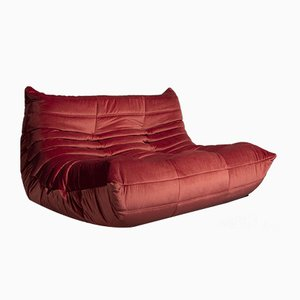 Model Togo Dark Pink Velvet Sofa by Michel Ducaroy for Ligne Roset, 1973