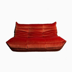 Model Red Velvet Sofa by Michel Ducaroy for Ligne Roset, 1970s