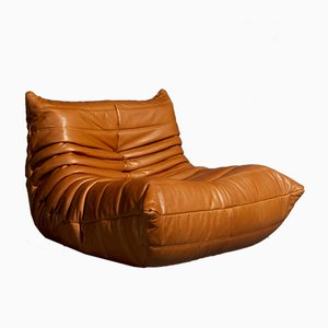 Model Tosca Cognac Leather Lounge Chair by Michel Ducaroy for Ligne Roset, 1973