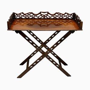 Mesa bandeja de mayordomo estilo Chippendale vintage, años 30
