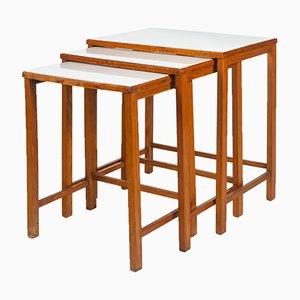 Mesas nido vintage de madera, años 30