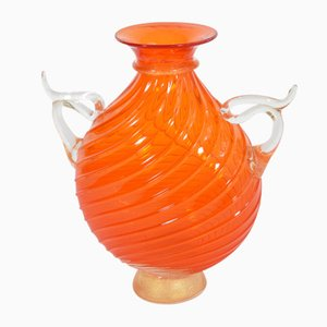 Orange Amphora Vase by Cenedese for Seguso, 1990s