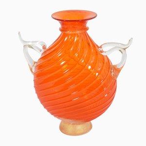 Vase Amphore Orange par Cenedese pour Seguso, 1990s