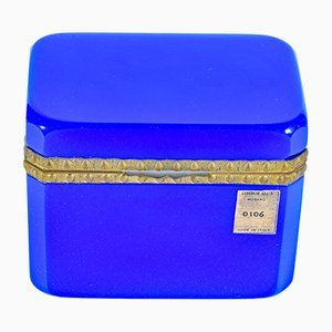 Blue Opaline Glass Jewelry Box from Cenedese, 1970s