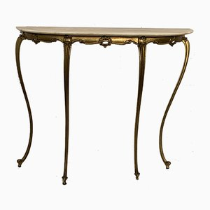 Brass and Onyx Console Table, 1950s