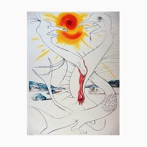 Incisione The Caduceus of Mars di Salvador Dali, 1974