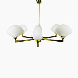 Mid-Century Brass and Opaline Glass 6-Arm Chandelier, 1950s