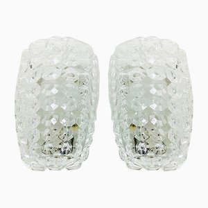 Vintage Crystal Ice Block Wall Lamps from Limburg, 1960s, Set of 2