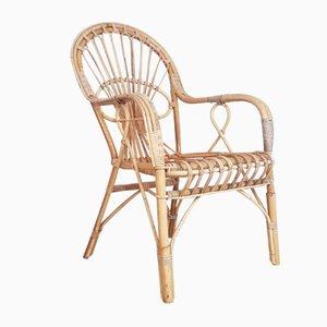 Armlehnstuhl aus Korbgeflecht, 1970er