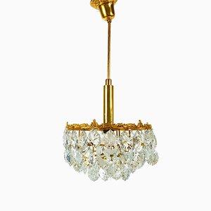 Lampadario vintage in ottone dorato e cristallo di Palwa, anni '60