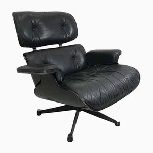 Mid-Century Black Leather Lounge Chair by Charles & Ray Eames for Vitra