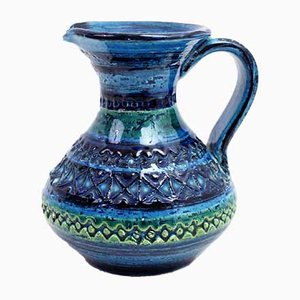 Blue Ceramic Pitcher by Aldo Londi for Bitossi, 1960s