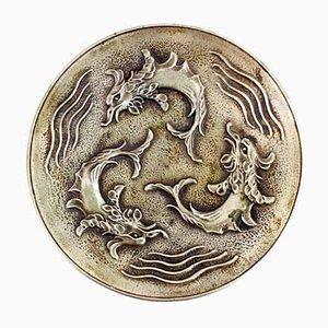 Dekorativer Teller aus Bronze von Max LeVerrier, 1930er