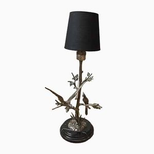 Vintage Silver Metal Table Lamp by S. Agudo, 1950s