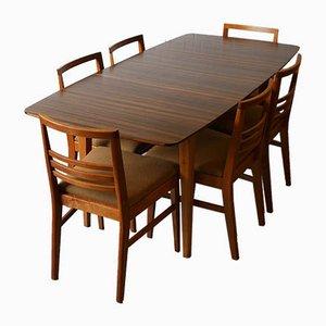 Conjunto de mesa de comedor Hopewell extensible de nogal y haya de Gimson & Slater de Vesper Furniture, años 50. Juego de 7