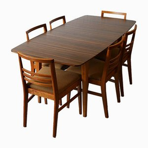 Hopewell Extendable Walnut and Beech Dining Table & Chairs Set by Gimson & Slater from Vesper Furniture, 1950s, Set of 7