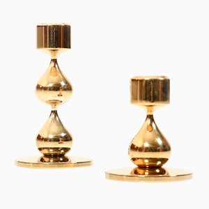 Candeleros daneses Mid-Century dorados de Hugo Asmussen. Juego de 2