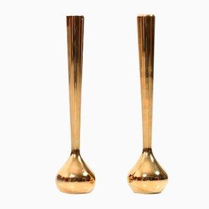 Vergoldete dänische Mid-Century Soliflore Vasen von Hugo Asmussen, 2er Set