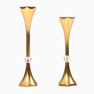Vergoldete dänische Mid-Century Kerzenhalter von Hugo Asmussen, 2er Set