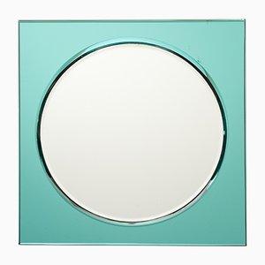 Türkisfarbener italienischer Vintage Spiegel von Fontana Arte, 1960er