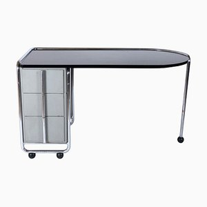 Chromed Frame and Glass Desk by Duflot et Glorieux, 1930s