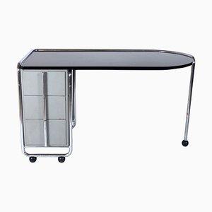 Schreibtisch mit Chromgestell & Glasplatte von Duflot et Glorieux, 1930er