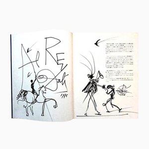 Disegno a doppia pagina grande di Salvador Dali, 1975