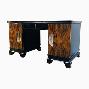 Vintage Art Deco Walnut Desk, 1920s