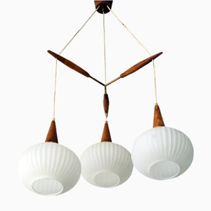 Danish Teak & Opaline Glass Triple Ceiling Lamp from Philips, 1960s