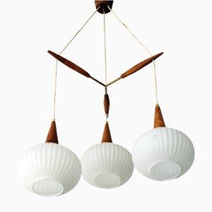 Lampada da soffitto tripla in teak e vetro opalino di Philips, Danimarca, anni '60