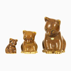 Danish Bear Figurines by Knud Basse for Knud Basse, 1950s, Set of 3