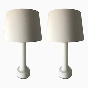Swedish White Glass Table Lamps from Bergboms, 1950s, Set of 2