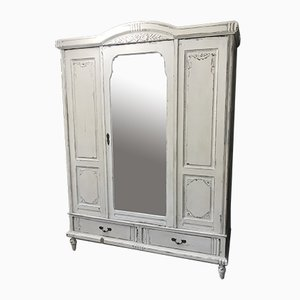 French Solid Oak Armoire with Mirror, 1930s